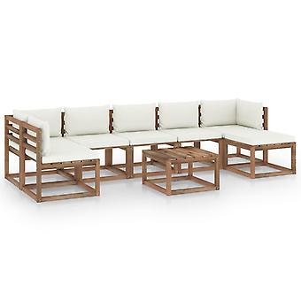 vidaXL 8-tlg. Garten-Lounge-Set mit Creme Kissen