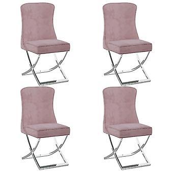 vidaXL dining chairs 4 pcs. pink 53x52x98 cm velvet