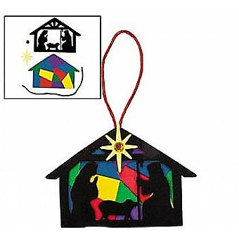 LAST FEW - 12 Christian Nativity Silhouette Foam Christmas Ornament Craft Kits
