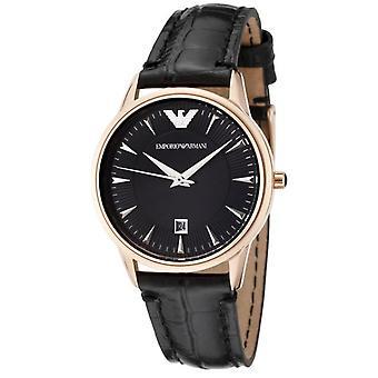 Emporio Armani AR2445 Bisel de oro Negro Esfera Negro Correa de Cuero Damas Reloj