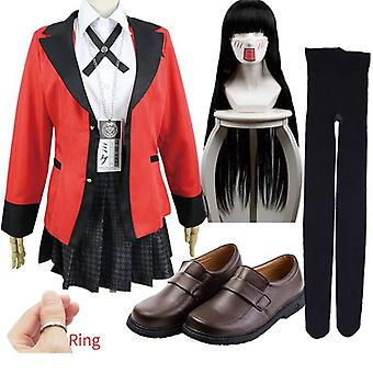 Carnival kakegurui jabami yumeko yomoduki runa cosplay costume for women coat wig shoes halloween costume for women carnival