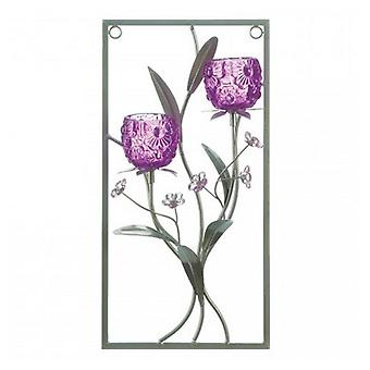 Gallery of Light Purple Flower Rectangular Wall Sconce - Two Candles, Pack of 1