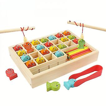 Caraele Children's Math Learning Educational Toys Wooden Magnetic Fishing Game Set Baby Interactive Educational Toys Birthday Gift