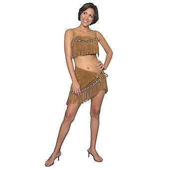 Little Fawn Indian Pocahontas Native American Deluxe Leather Women Costume