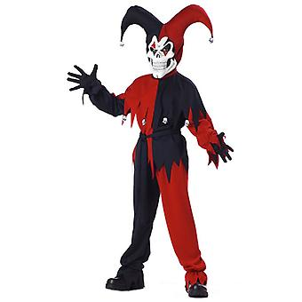 Evil Jester Mardi Gras Red Black Joker Horror Clown Halloween Boys Costume