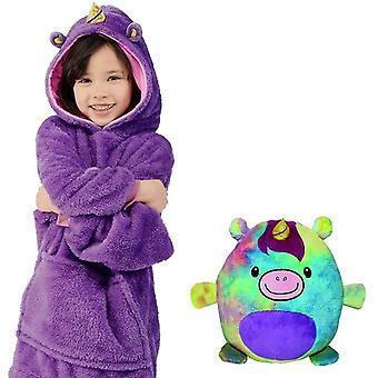 Soft Kids Boy Haustiere Teddy Bär Nachtwäsche Warme Hoodie Decke Sweatshirt