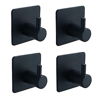 קיר שחור נירוסטה ווים עצמי דבק ללא אגרוף חבילת התקנה של 4 / חבילה של 8