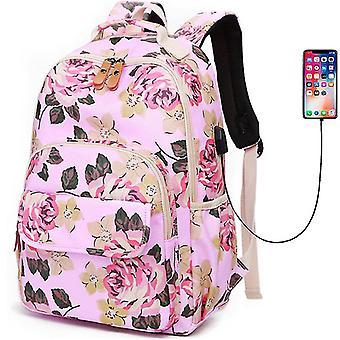 Laptop ryggsekk, floral vannavstøtende usb daypack, reise skole college