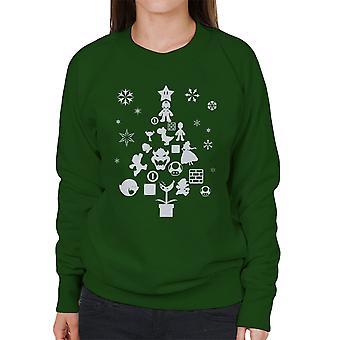 Super Mario Bros Christmas Tree Silhouette White Women's Sweatshirt