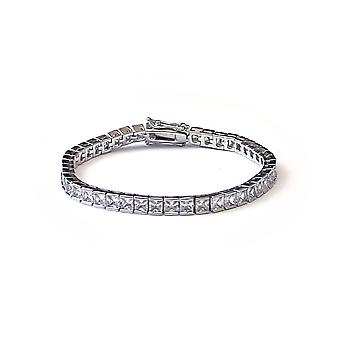 Square Cut CZ Tennis Bracelet in 18k Platinum Plated 4mm x 7.5 Inches