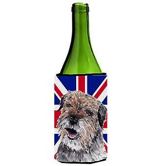 Border Terrier con Engish Union Jack bandiera britannica bottiglia di vino bevanda Insulato