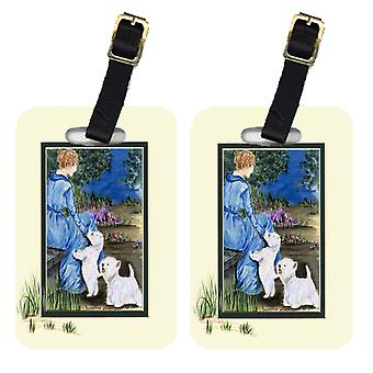Carolines Treasures  SS8021BT Lady with her  Westie Luggage Tags Pair of 2