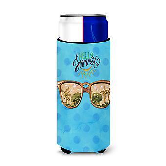 Spiaggia di occhiali da sole blu Polkadot Michelob Ultra Hugger per lattine slim