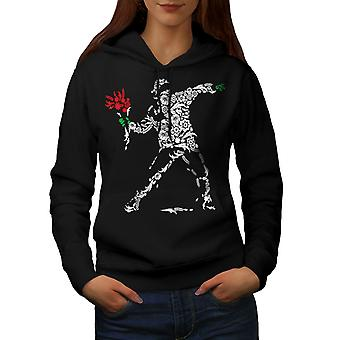 Human Flower Art Fantasy Women BlackHoodie | Wellcoda
