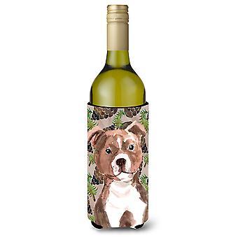 Rød Staffie Bull Terrier kogler vin flaske Beverge isolator Hugger