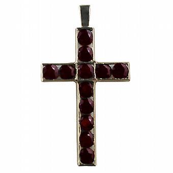 9ct croce di Gold 45x29mm apostolo set con 12 granati