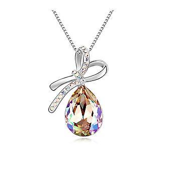 Knut hänge smyckat med Aurora Borealis kristaller och Vitguldpläterad