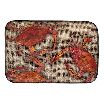 Carolines Treasures  8742DDM Cooked Crabs on Faux Burlap Dish Drying Mat