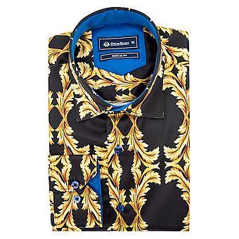 Oscar Banks Satin Gold Baroque Print Mens Shirt
