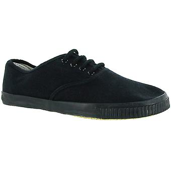 Mirak damer 6061 spets upp textil Plimsoll Sneaker Trainer svart