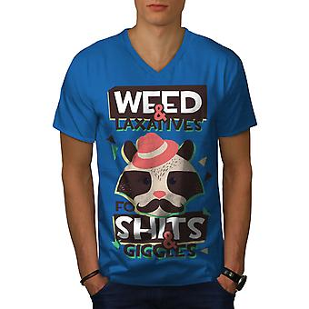 Weed Raccoon 42 Funy Men Royal BlueV-Neck T-shirt | Wellcoda