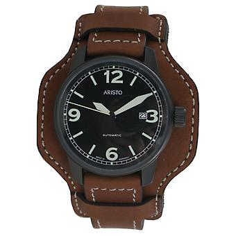 Aristo mens watch wristwatch automatic Fliegeruhr 0 H 12 leather