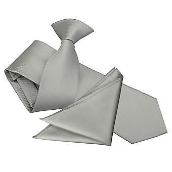 Clipe de prata sólida seleção na gravata Slim & conjunto de bolso quadrado