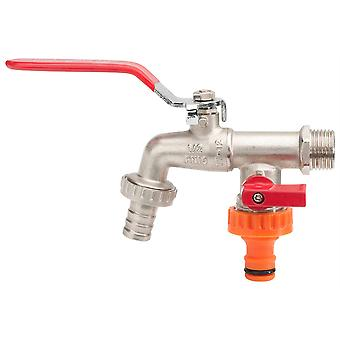 Double Duo Outlet Garden Tap Ball Valve Faucet Red Handle 1/2