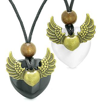 Ange ailes amour Couple meilleurs amis coeur Yin Yang amulette Agate blanc simulé Cats Eye colliers
