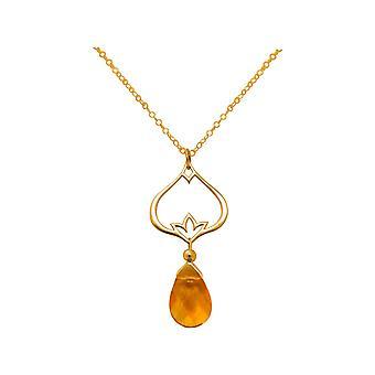 Collier pour femme GEMSHINE en argent plaqué or avec citrine de fleur de lotus YOGA