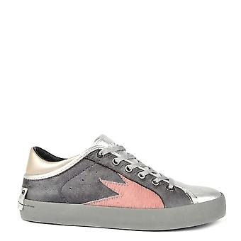 Crime London Faith Lo Explosion Grey Leather Trainer