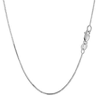 14k White Solid Gold Mirror Box Chain Necklace, 0.7mm