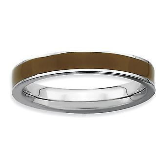 925 Sterling Silver Polished Stackable Expressions Brown Enameled 3.25mm Ring Jewelry Gifts for Women - Ring Size: 5 to