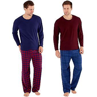 Harvey James Mens warme Winter thermische Fleece Check Lounge Pyjamas PJs Set