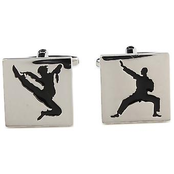 Zennor Martial Arts Cufflinks - Silver/Black