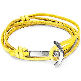Anchor and Crew Clipper Silver and Leather Bracelet - Mustard Yellow