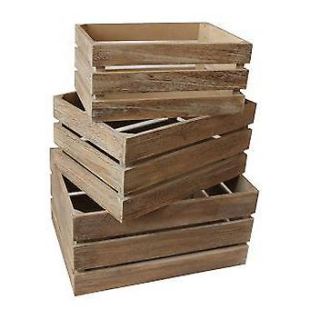 Effetto rovere a doghe in legno deposito cassa insieme 3