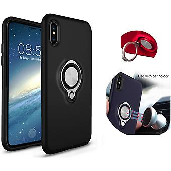 Colorfone iPhone X/Xs Case black shell with Ring and metal plate