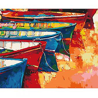 Wizardi Boats At The Pier Stretched Canvas Extra Large Paint By Numbers
