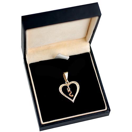 9ct Gold 18x18mm Herz Anhänger mit einem hängenden Initial S