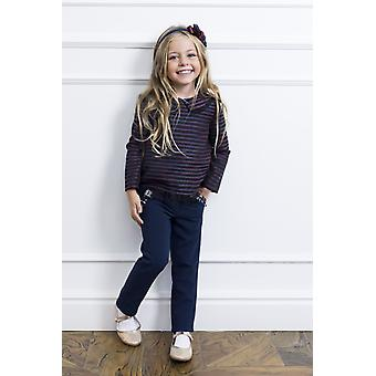 Striped girl shirt with tulle raffles