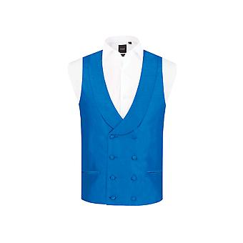 Dobell Mens Royal Blue Waistcoat Regular Fit Double Breasted Shawl Lapel Dupion
