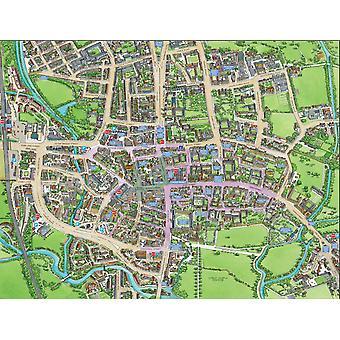 Stadsbilder Street karta över Oxford 400 bit pussel 470 x 320 mm (HTF)