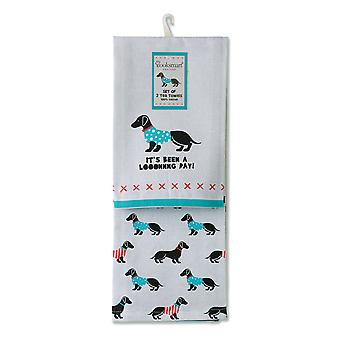 Cooksmart Pack of 2 Tea Towels, Long Day