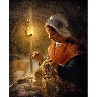 Woman Sewing by Lamplight,Jean Francois Millet,50x40cm
