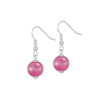 Eternal Collection Melody Fuchsia Cats Eye Silver Tone Drop Pierced Earrings