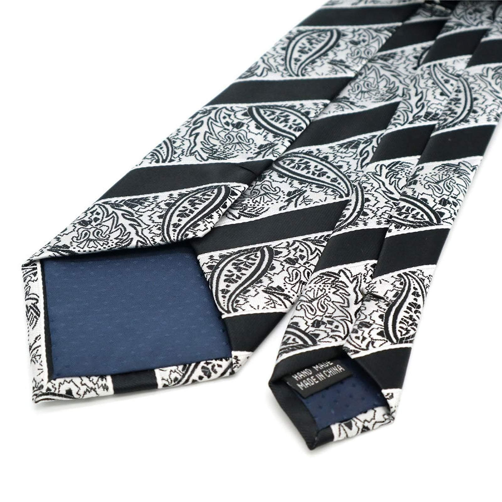 Black & white paisley stripe pocket square & tie set