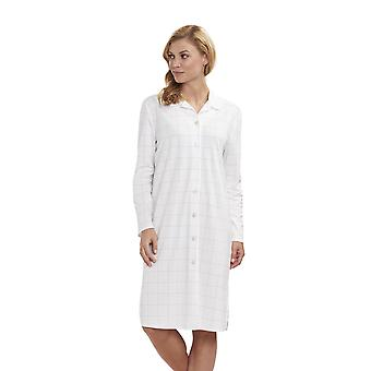 Feraud 3883159 kvinders høje klasse Plaid bomuld søvn Shirt Nighty natskjorte