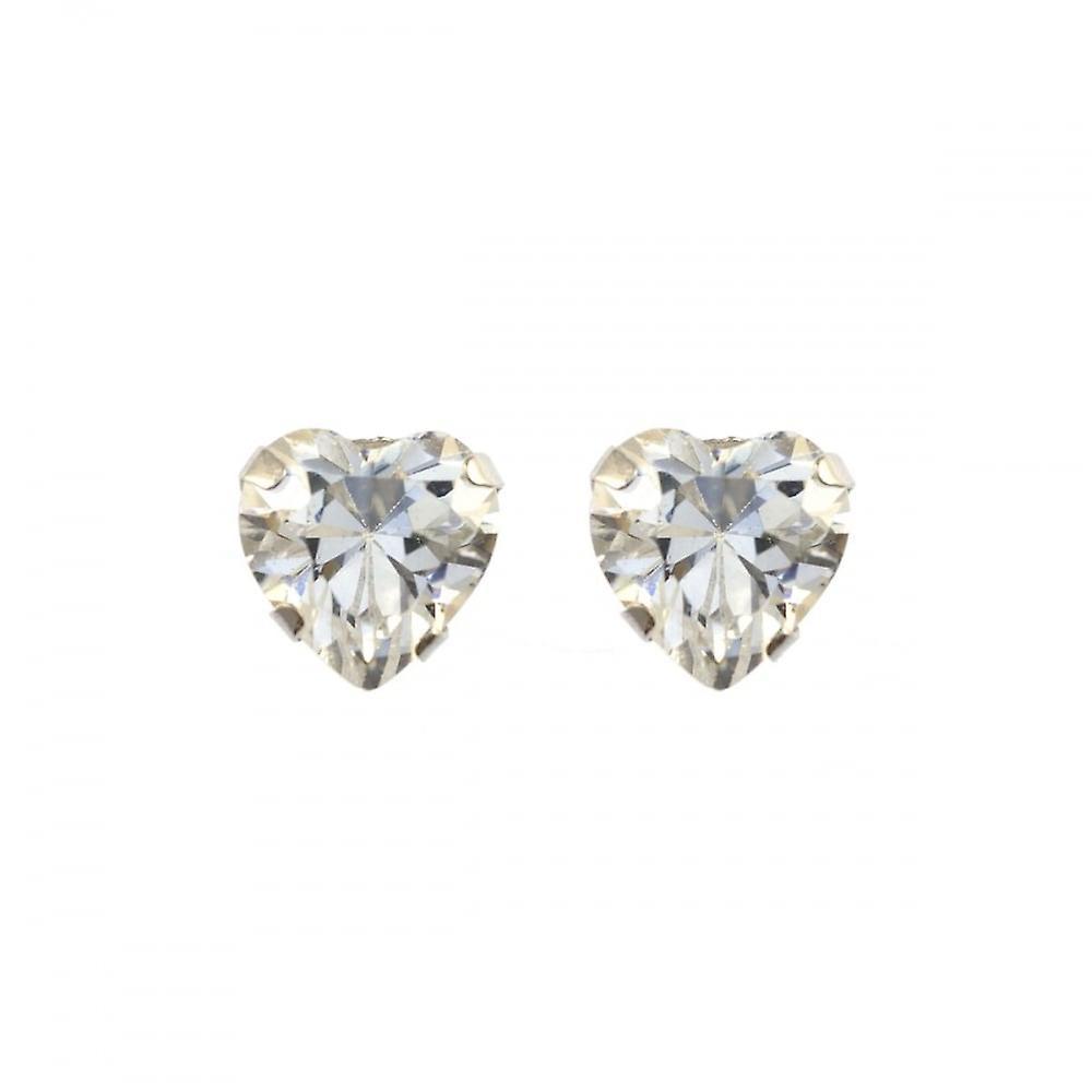 Eternity 9ct White Gold Cubic Zirconia Heart Stud Earrings