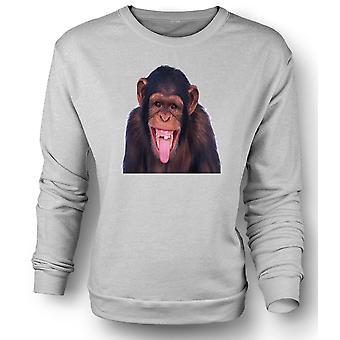 Womens Sweatshirt frech Chimp lustiges Gesicht